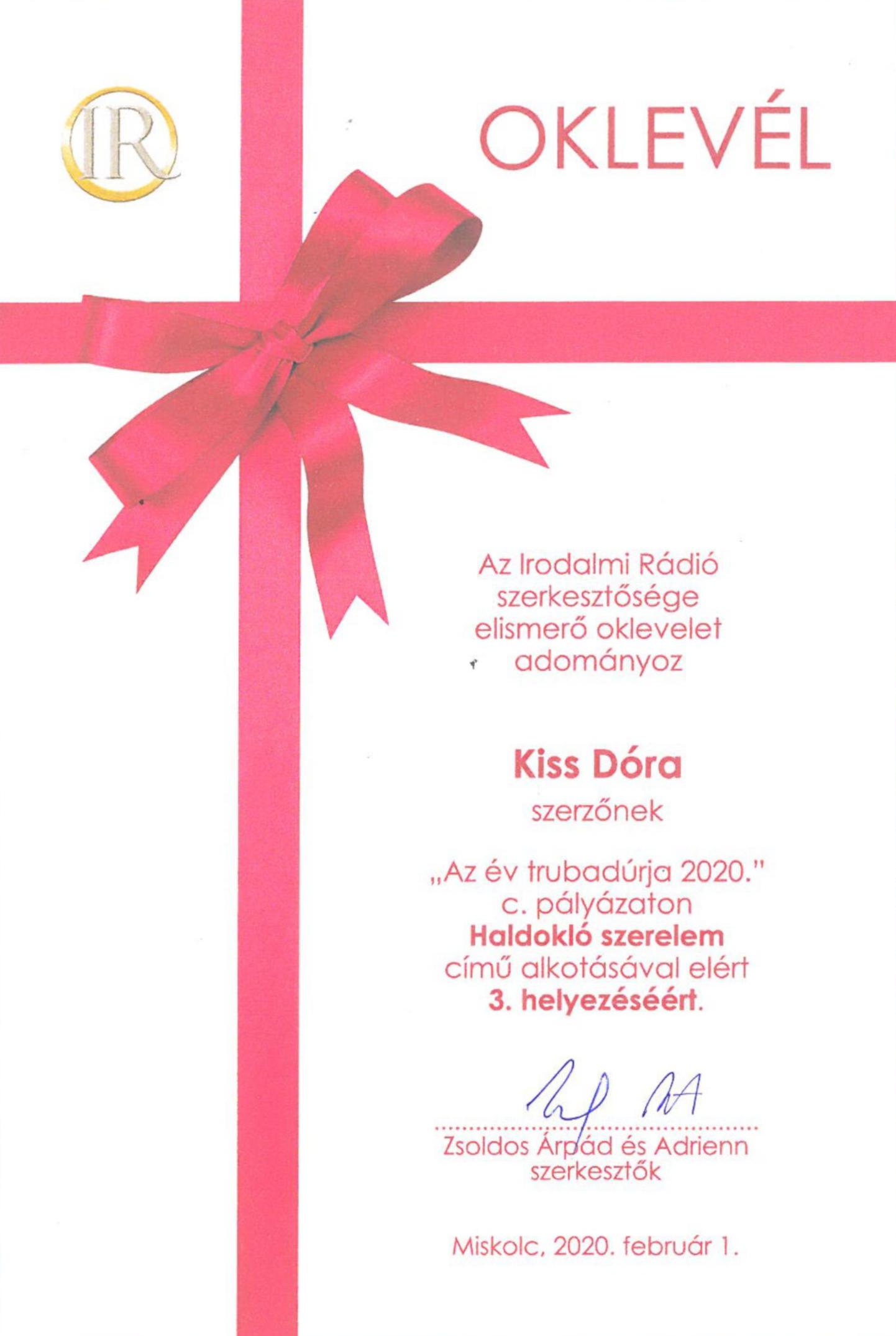 """Kiss Dóra oklevele  - """"Az év trubadúrja 2020"""", III. helyezés"""